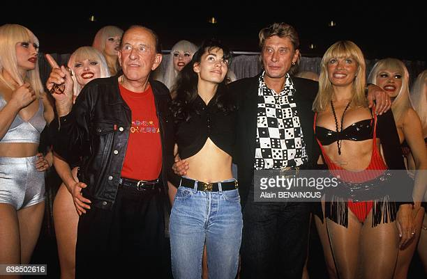 Director Alain Bernardin Adeline Blondieau Johnny Hallyday and dancer Lova Moor at the party for the 40th anniversary of the cabaret Crazy Horse in...