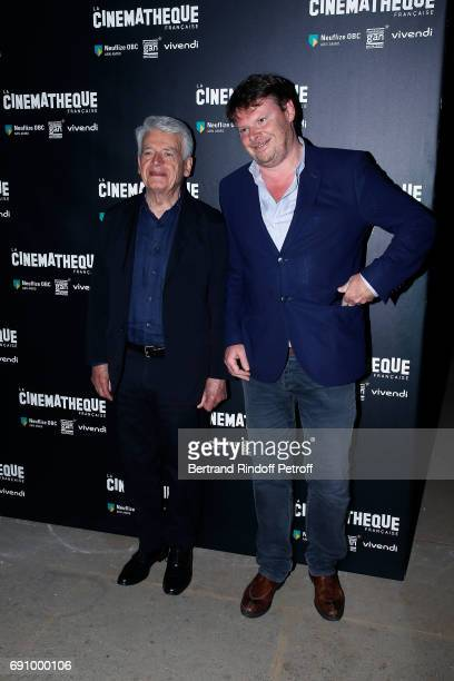 Director Alain Cavalier and Generale Director of La Cinematheque Frederic Bonnaud attend 'Vincent Lindon Retrospective' at la Cinematheque on May 31...