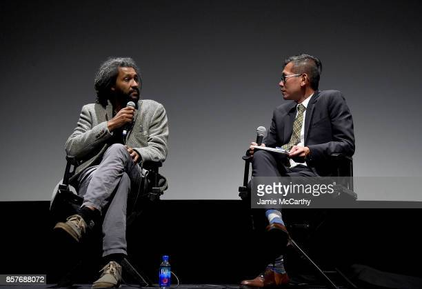 Director Alain Gomis and Dennis Lim attend the 55th New York Film Festival 'Felicite'at Alice Tully Hall on October 4 2017 in New York City