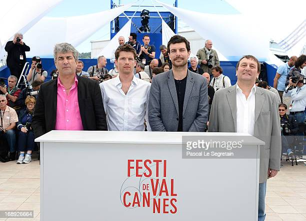 Director Alain Guiraudie actor Pierre Deladonchamps actor Christophe Paou and actor Patrick D'Assumca attend 'L'Inconnu Du Lac' Photocall during the...