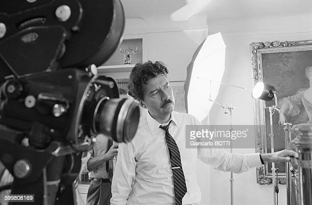 Director Alain RobbeGrillet on the set of his movie 'Trans Europ Express' in Paris France in 1966