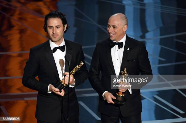 Director Alan Barillaro and producer Marc Sondheimer accept Best Animated Short Film for 'Piper' onstage during the 89th Annual Academy Awards at...