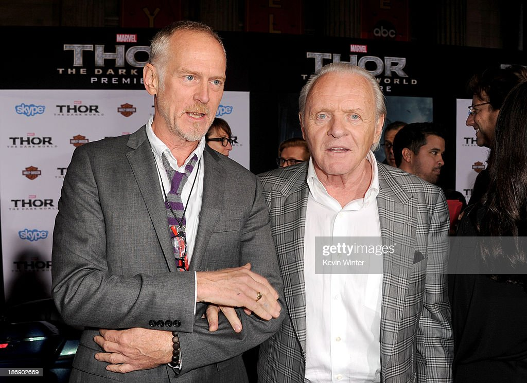 Director Alan Taylor (L) and actor <a gi-track='captionPersonalityLinkClicked' href=/galleries/search?phrase=Anthony+Hopkins&family=editorial&specificpeople=202646 ng-click='$event.stopPropagation()'>Anthony Hopkins</a> arrive at the premiere of Marvel's 'Thor: The Dark World' at the El Capitan Theatre on November 4, 2013 in Hollywood, California.