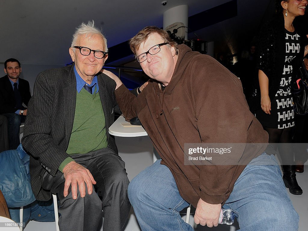 Director <a gi-track='captionPersonalityLinkClicked' href=/galleries/search?phrase=Albert+Maysles&family=editorial&specificpeople=683587 ng-click='$event.stopPropagation()'>Albert Maysles</a> (L) and Michael Moore attend the 6th Annual Cinema Eye Honors For Nonfiction Filmmaking at Museum of the Moving Image on January 9, 2013 in New York City.