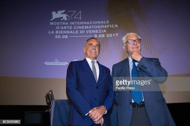 Director Alberto Barbera and President of the Venice Biennale Paolo Baratta during Press Conference for the presentation of the 74th International...