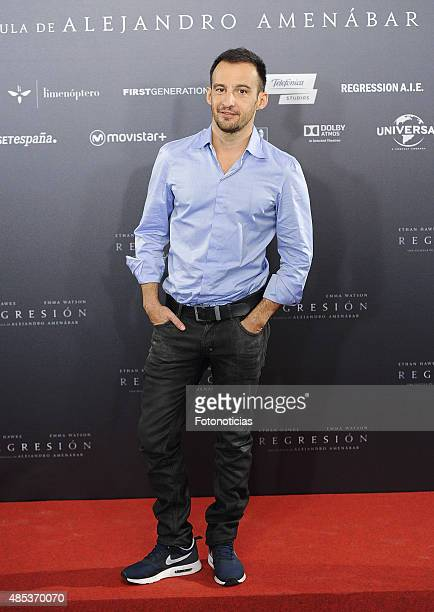 Director Alejandro Amenabar attends a photocall for 'Regression' at the Villamagna Hotel on August 27 2015 in Madrid Spain