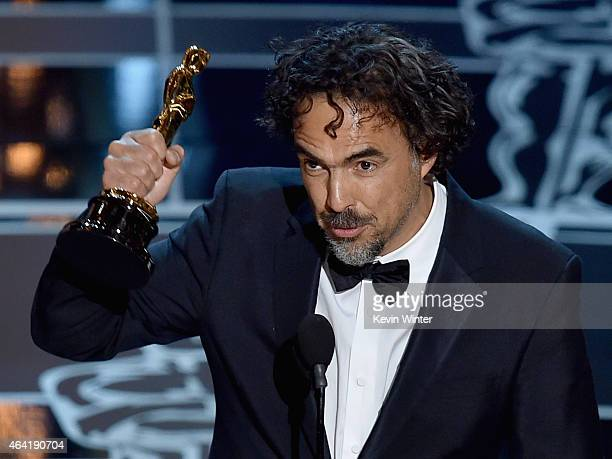 Director Alejandro Gonzalez Inarritu accepts the Best Director Award for 'Birdman' onstage during the 87th Annual Academy Awards at Dolby Theatre on...