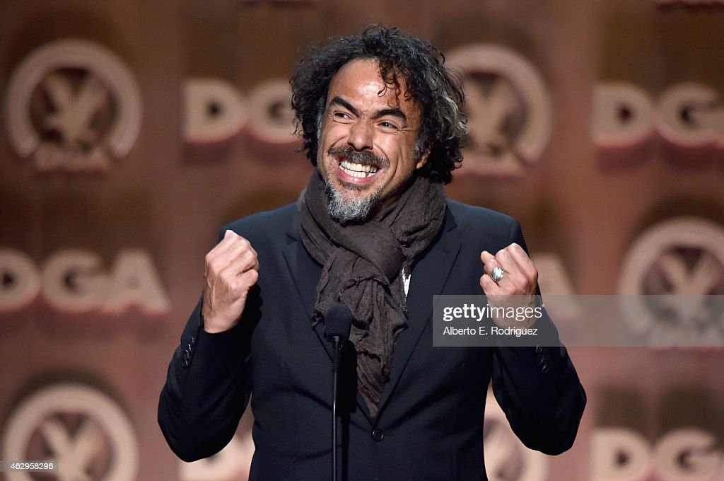 Director Alejandro Gonzalez Inarritu accepts the Feature Film Nomination Plaque for 'Birdman or 'onstage at the 67th Annual Directors Guild Of...
