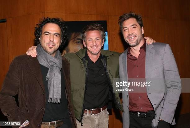 Director Alejandro Gonzalez Inarritu actor/director Sean Penn and actor Javier Bardem attend the SAG Film Society Screening of Biutiful at the...