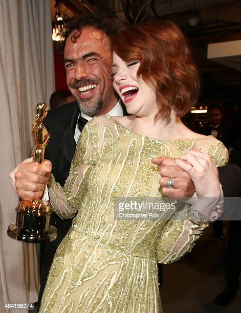 Director Alejandro Gonzalez Inarritu winner of Best Original Screenplay Best Director and Best Motion Picture for 'Birdman' and actress Emma Stone...