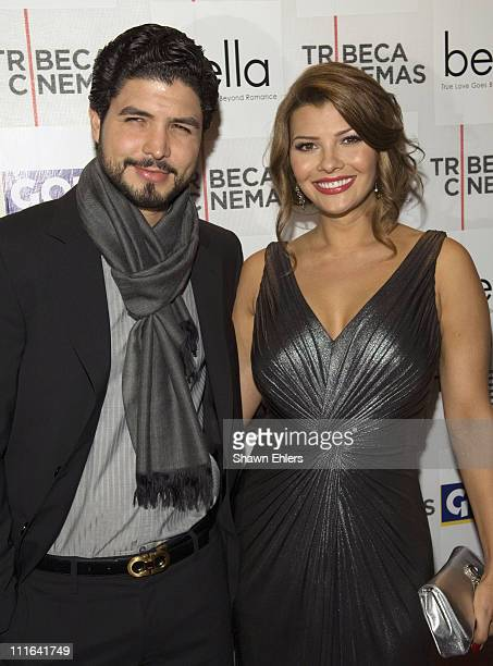 Director Alejandro Monteverde and actress Ali Landry arrives at the 'Bella' New York Premiere on October 25 2007 at Tribeca Cinemas in New York City