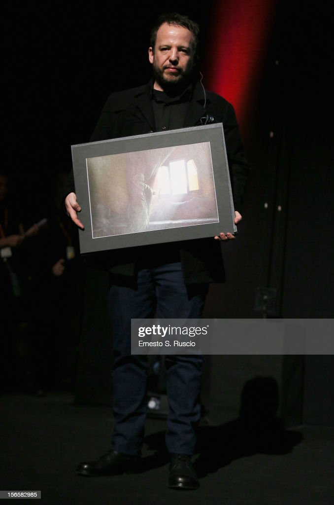 Director Alejo Hoijman poses on stage with Enel Cuore Al Cinema Sociale award during the Collateral Awards Ceremony at the 7th Rome Film Festival at the Auditorium Parco Della Musica on November 17, 2012 in Rome, Italy.