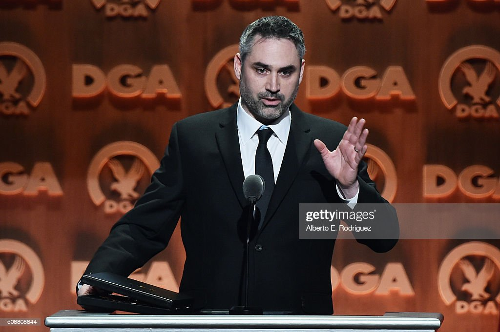 Director Alex Garland accepts the award for Outstanding Directorial Achievement of a First-Time Feature Film Director for 'Ex Machina' onstage at the 68th Annual Directors Guild Of America Awards at the Hyatt Regency Century Plaza on February 6, 2016 in Los Angeles, California.