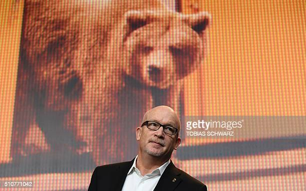 US director Alex Gibney arrives for a press conference for the film 'Zero Days' during the Berlinale Film Festival in Berlin on February 17 2016 /...
