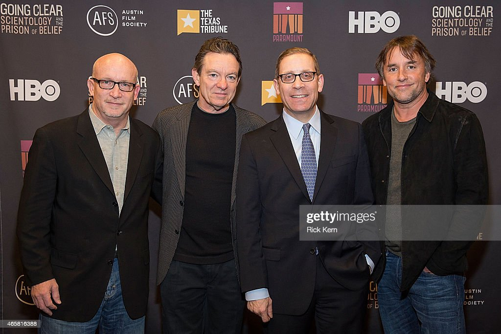 Director Alex Gibney, author Lawrence Wright, Evan Smith, Editor-in-Chief of The Texas Tribune, and Richard Linklater, Founder, Austin Film Society attend a special screening of 'Going Clear: Scientology and the Prison of Belief' at the Paramount Theatre on March 10, 2015 in Austin, Texas.