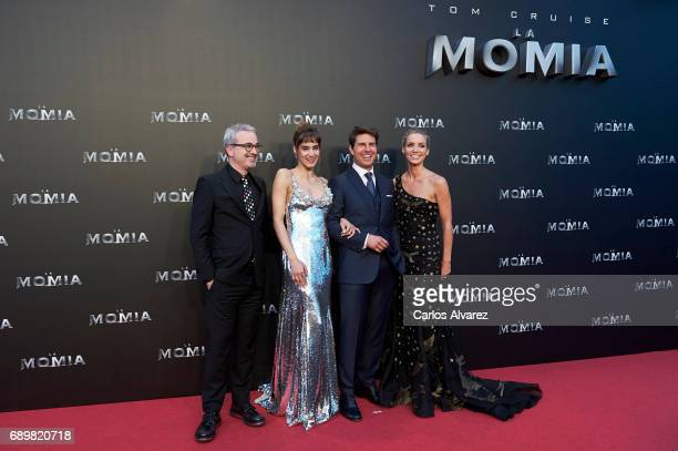 Director Alex Kurtzman actress Sofia Boutella actor Tom Cruise and actress Annabelle Wallis attend 'The Mummy' premiere at the Callao cinema on May...