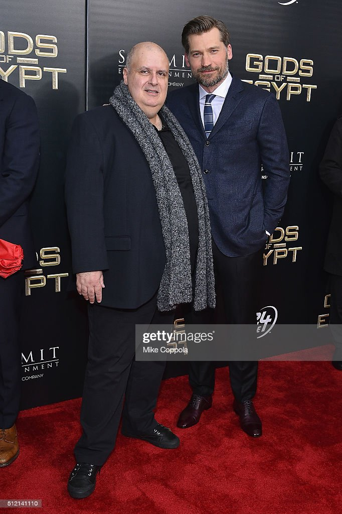 Director Alex Proyas (L) and actor Nikolaj Coster-Waldau attend the 'Gods Of Egypt' New York Premiere at AMC Loews Lincoln Square 13 on February 24, 2016 in New York City.