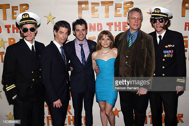 Director Alex Timbers actors Christian Borle Adam ChanlerBerat Celia KeenanBolger playwright Rick Elice and director Roger Rees attend the Opening...