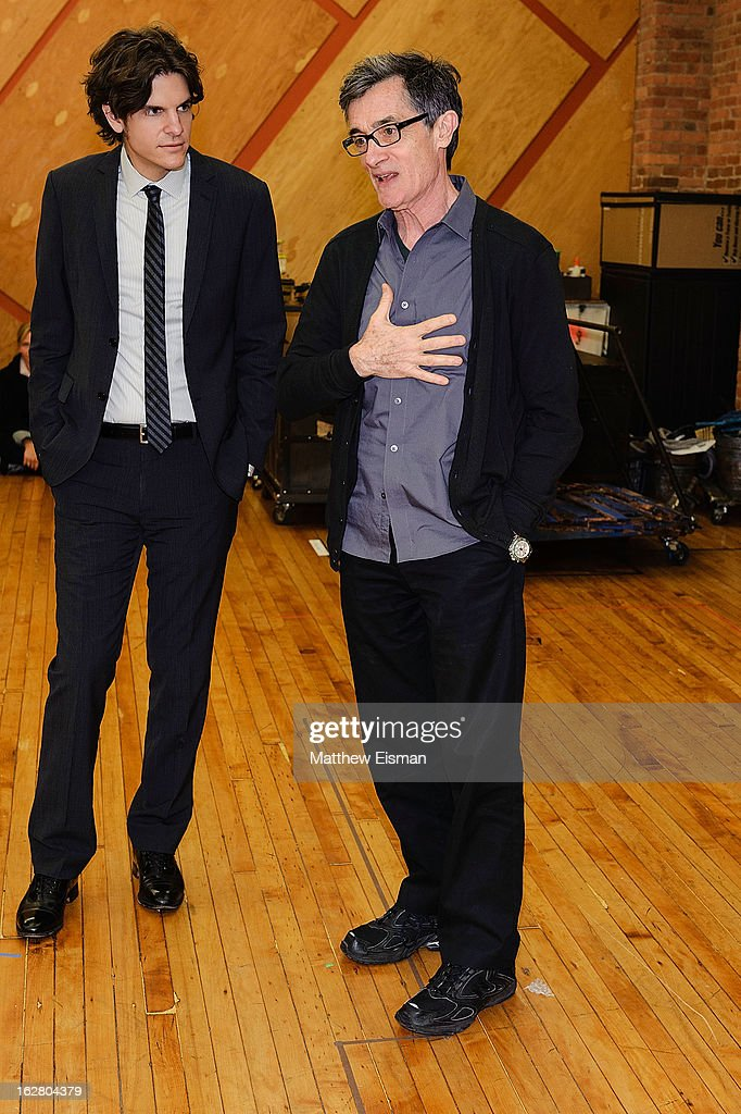 Director Alex Timbers (L) and director Roger Rees attend the press preview of new cast of 'Peter And The Starcatcher' at Gibney Dance Center on February 27, 2013 in New York City.