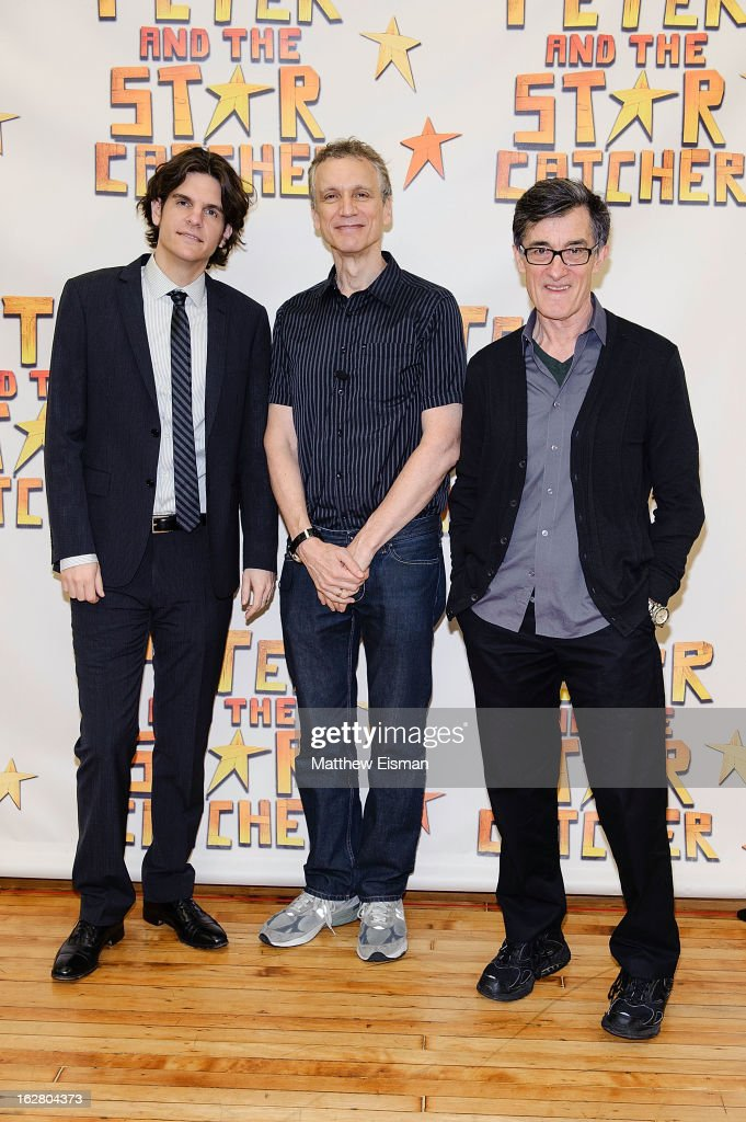 Director Alex Timbers, playwright Rick Elice and director Roger Rees attend the press preview of new cast of 'Peter And The Starcatcher' at Gibney Dance Center on February 27, 2013 in New York City.