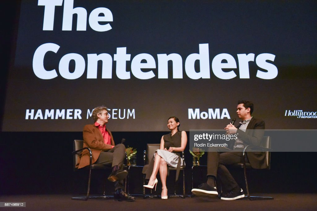 Director Alexander Payne, actress Hong Chau, and The Museum of Modern Art The Celeste Bartos Chief Curator of Film Rajendra Roy speak onstage at Hammer Museum presents The Contenders 2017 with 'Downsizing' screening at Hammer Museum on December 6, 2017 in Los Angeles, California.