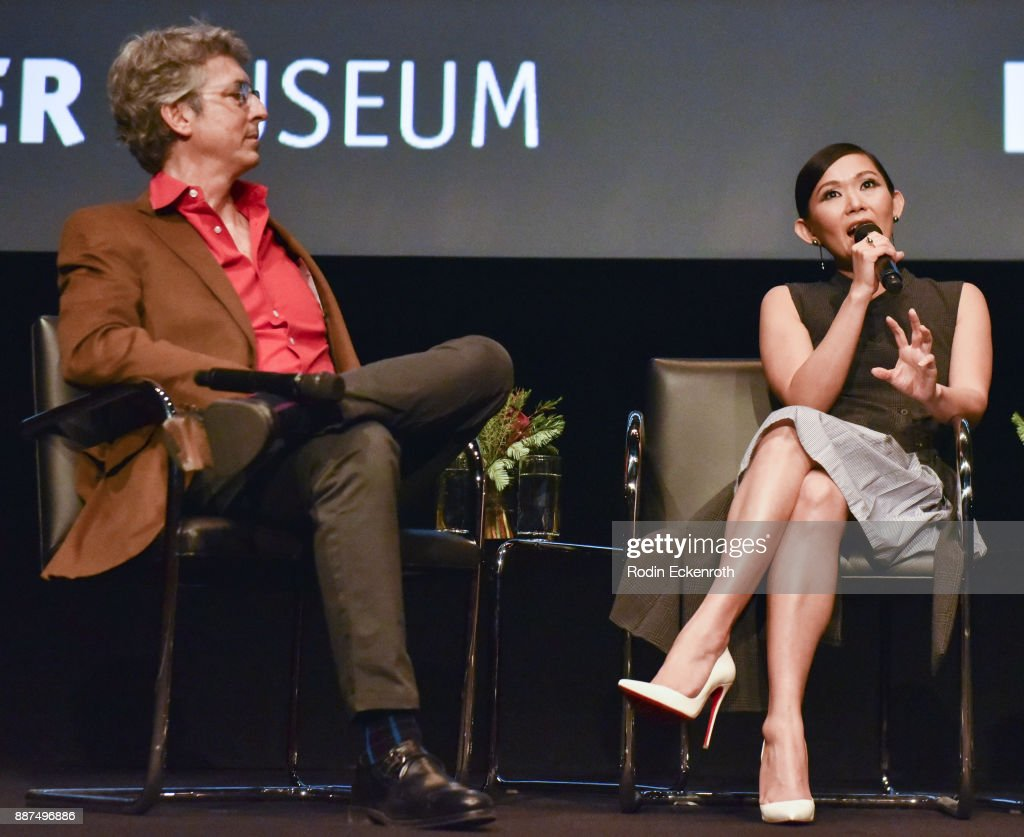 Director Alexander Payne (L) and actress Hong Chau speak onstage at Hammer Museum presents The Contenders 2017 with 'Downsizing' screening at Hammer Museum on December 6, 2017 in Los Angeles, California.