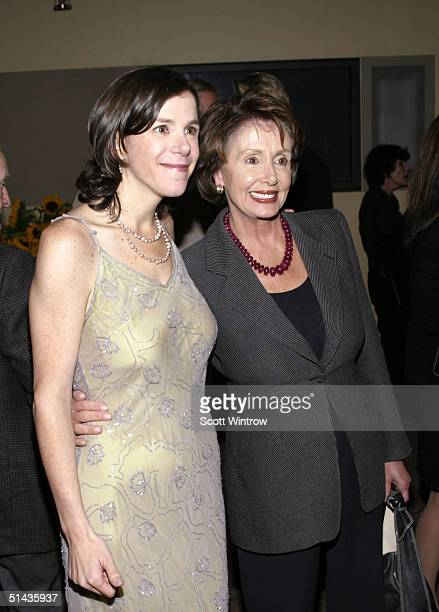 Director Alexandra Pelosi and House Democratic Leader Nancy Pelosi pose before the premiere of 'Diary Of A Political Tourist' on October 6 2004 in...