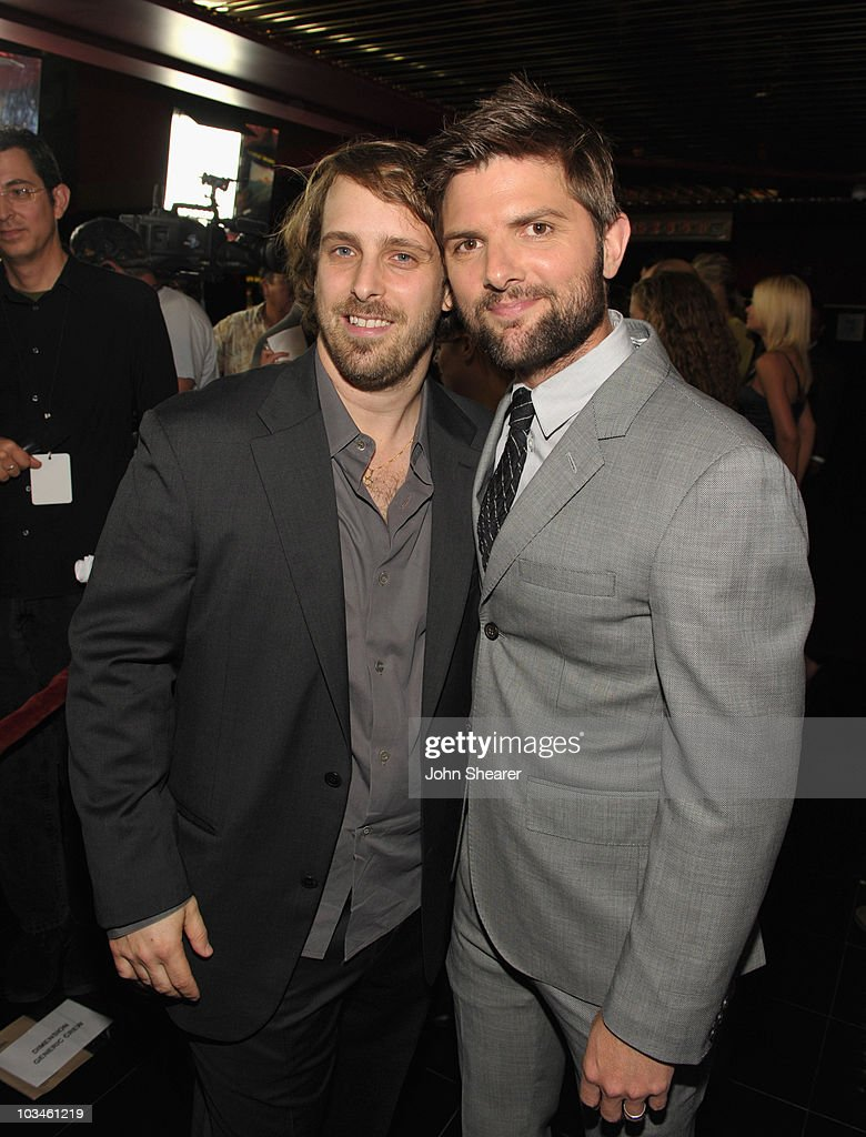Director Alexandre Aja and actor Adam Scott attend the Weinstein Company 'Piranha 3D' premiere at Mann Chinese 6 on August 18, 2010 in Hollywood, California.