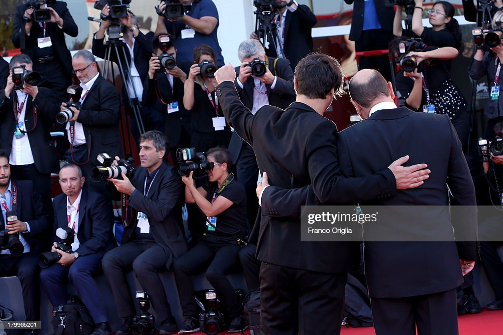 Director Alexandros Avranas (R) and Actor Themis Panou attend the Closing Ceremony during the 70th Venice International Film Festival at the Palazzo del Cinema on September 7, 2013 in Venice, Italy.
