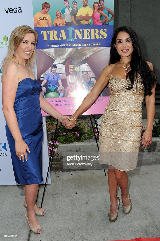 Director Alexa-Sascha Lewin (L) and actress Saye Yabandeh arrive at the Los Angeles premiere of a new comedy series 'Trainers' at Fox Studio Lot on May 9, 2013 in Century City, California.