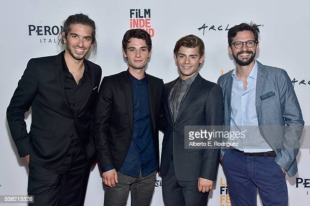 Director Alexis Wajsbrot actor Jack Brett Anderson actor Garrett Clayton and director Damien Mace attend the premieres of 'Don't Hang Up' and SBF...