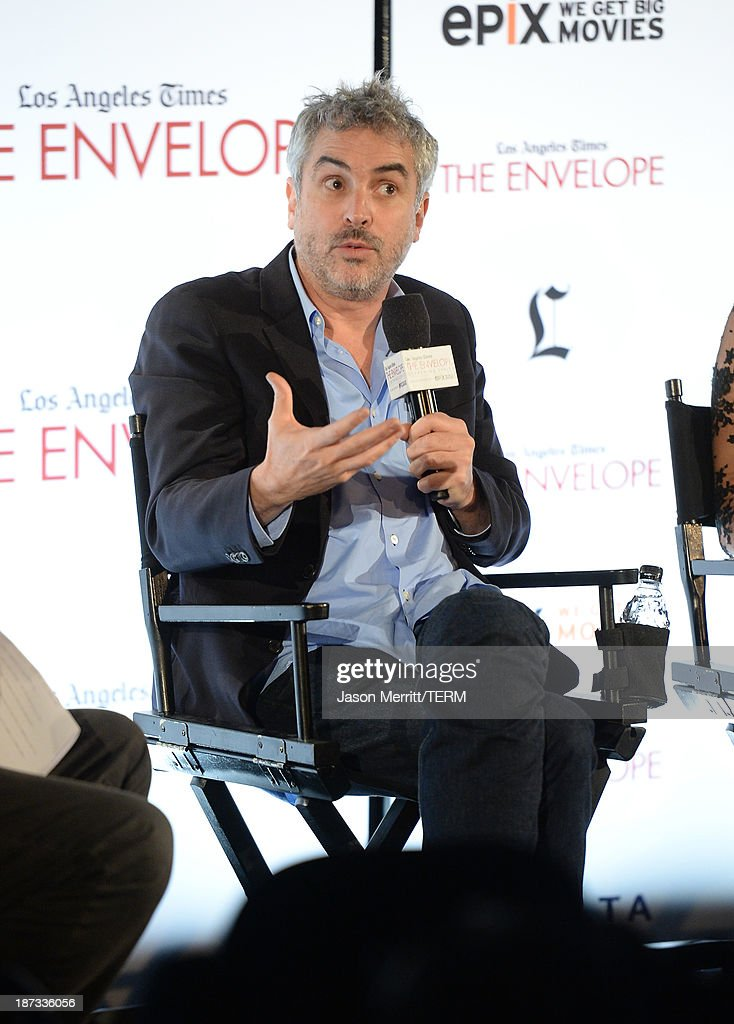 Director <a gi-track='captionPersonalityLinkClicked' href=/galleries/search?phrase=Alfonso+Cuaron&family=editorial&specificpeople=213792 ng-click='$event.stopPropagation()'>Alfonso Cuaron</a> attends the L.A. Times Envelope Screening Series and Q&A of 'Gravity' at ArcLight Sherman Oaks on November 7, 2013 in Sherman Oaks, California.