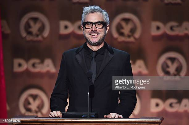 Director Alfonso Cuaron speaks onstage at the 67th Annual Directors Guild Of America Awards at the Hyatt Regency Century Plaza on February 7 2015 in...