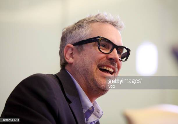 Director Alfonso Cuaron talks to the media during the 4th Beijing International Film Festival on April 17 2014 in Beijing China
