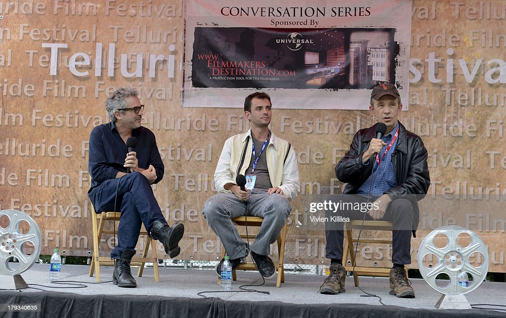 Director <a gi-track='captionPersonalityLinkClicked' href=/galleries/search?phrase=Alfonso+Cuaron&family=editorial&specificpeople=213792 ng-click='$event.stopPropagation()'>Alfonso Cuaron</a>, writer Jonas Cuaron and film critic Todd McCarthy attend the 2013 Telluride Film Festival - Day 4 on September 1, 2013 in Telluride, Colorado.
