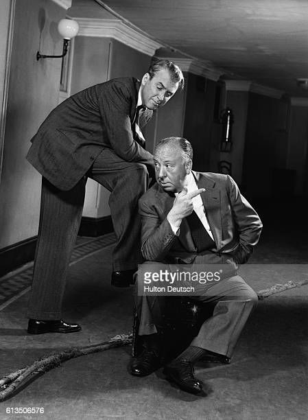 Director Alfred Hitchcock and actor James Stewart 1955