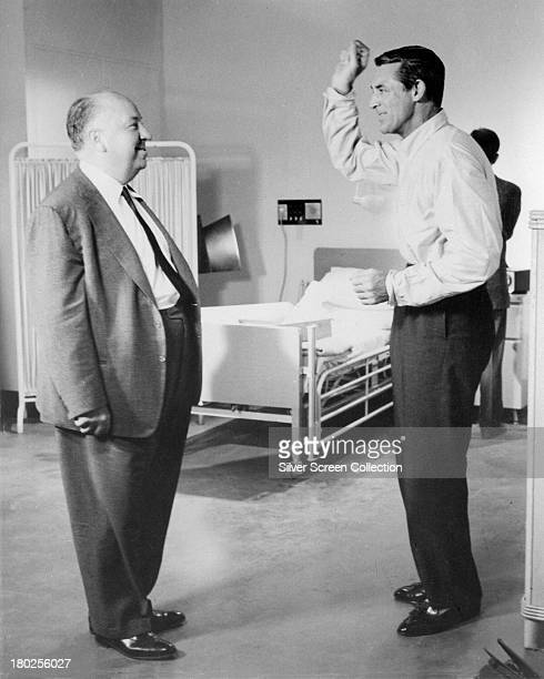 Director Alfred Hitchcock and leading man Cary Grant on the set of 'North By Northwest' 1959