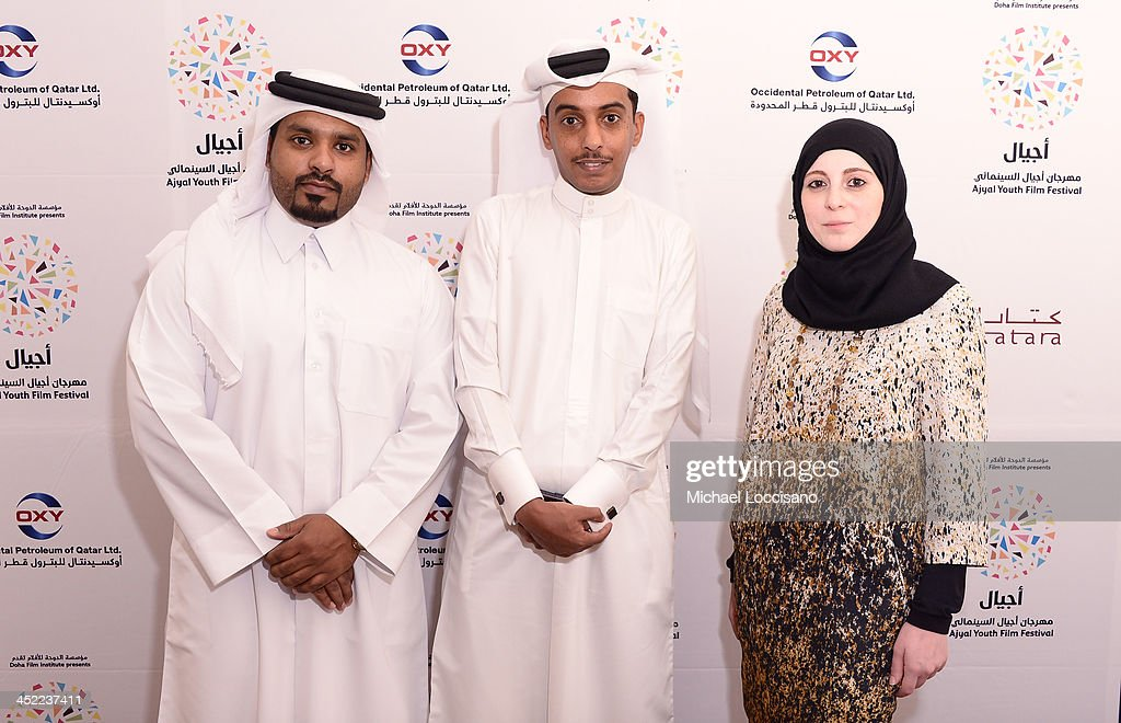 Director Ali Al Mehdi, Co-director Abdullah Al Musaifri, Dana Na Natsheh attends the panel 'Made in Qatar' during Day two of the Ajyal Youth Film Festival on November 27, 2013 in Doha, Qatar.