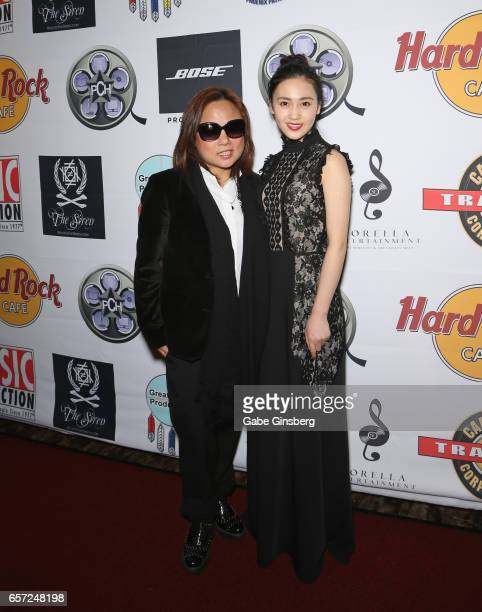 Director Alice Wang and actress Candy Wang attend the inaugural Las Vegas FAME Awards presented by the Producers Choice Honors at the Hard Rock Cafe...