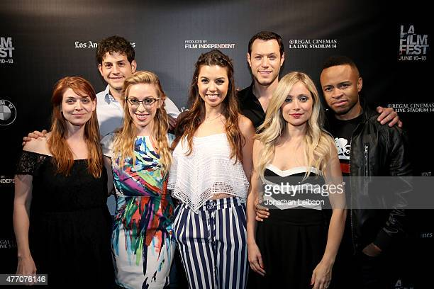 Director Amber Benson and actors David Blue Megan Lee Joy Jessica Sherif Dove Meir Emme Rylan and Eugene Byrd attend the 'Dude Bro Party Massacre...