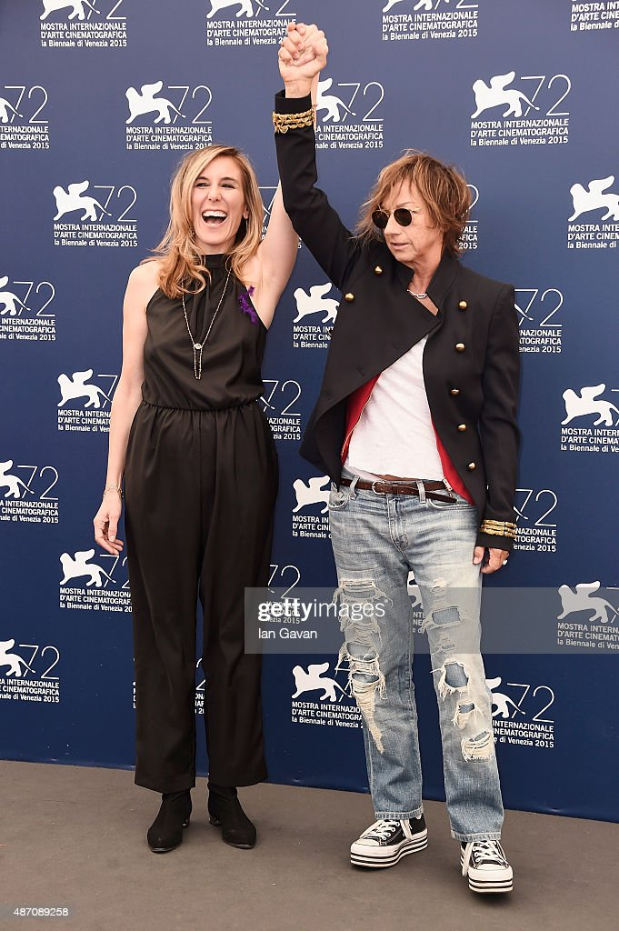 Director Amy Berg and Gianna Nannini attend a premiere for 'Janis' during the 72nd Venice Film Festival at Sala Grande on September 6, 2015 in Venice, Italy.