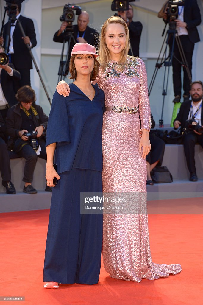 Director Ana Lily Amirpour and actress Suki Waterhouse attend the premiere of 'The Bad Batch' during the 73rd Venice Film Festival at Sala Grande on September 6, 2016 in Venice, Italy.