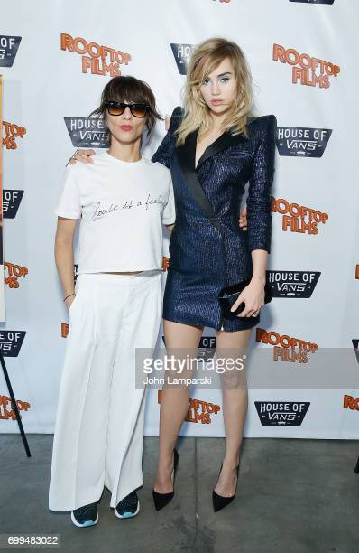 Director Ana Lily Amirpour and actress/model Suki Waterhouse attend 'The Bad Batch' during Rooftop Screening at House of Vans on June 21 2017 in the...