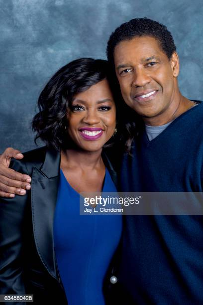 Director and actor Denzel Washington and actress Viola Davis are photographed for Los Angeles Times on December 17 2016 in Los Angeles California...