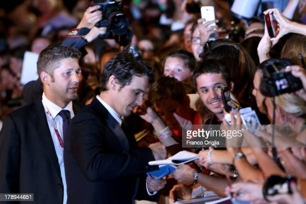 Director and actor James Franco signs autographs during the 'Child of God' Premiere during the 70th Venice International Film Festival at Sala Grande...
