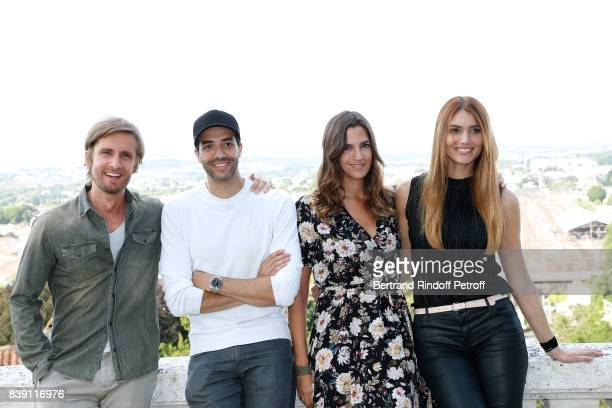 Director and actor of the movie 'Epousemoi mon pote' actor Philippe Lacheau director Tarek Boudali actress Charlotte Gabris and Nadege Dabrowski aka...
