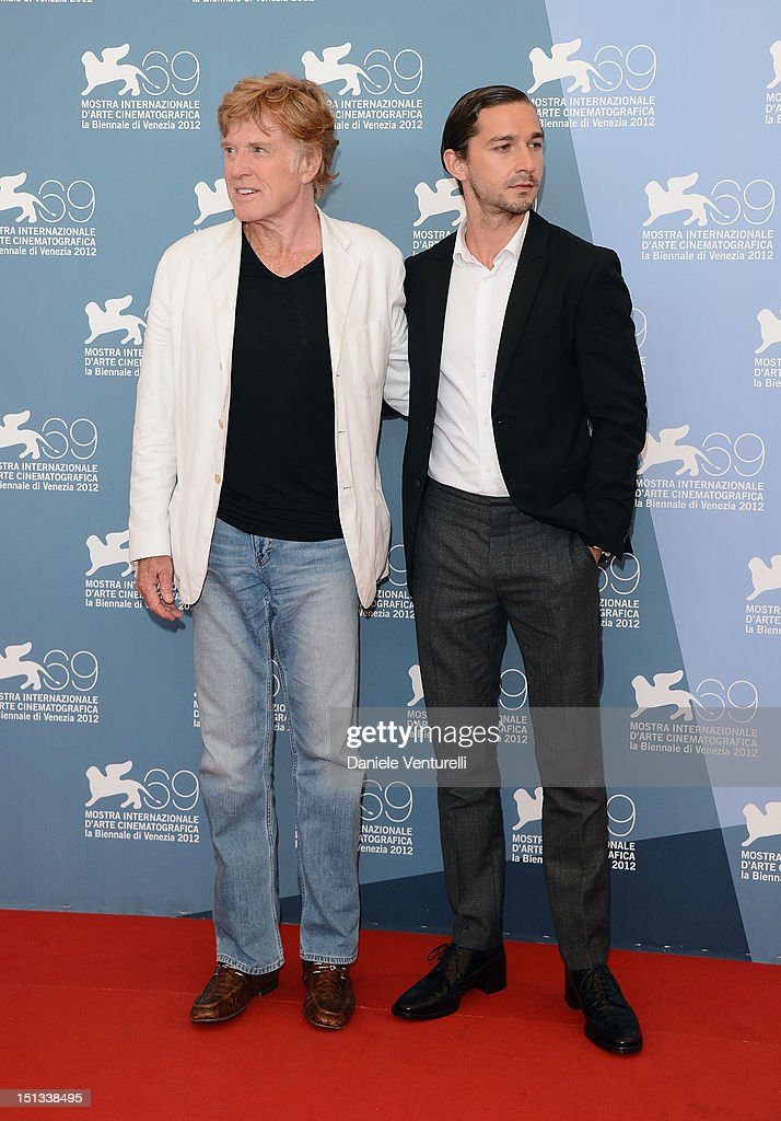 Director and actor Robert Redford and actor Shia LaBeouf attend 'The Company You Keep' Photocall during the 69th Venice Film Festival at the Palazzo...