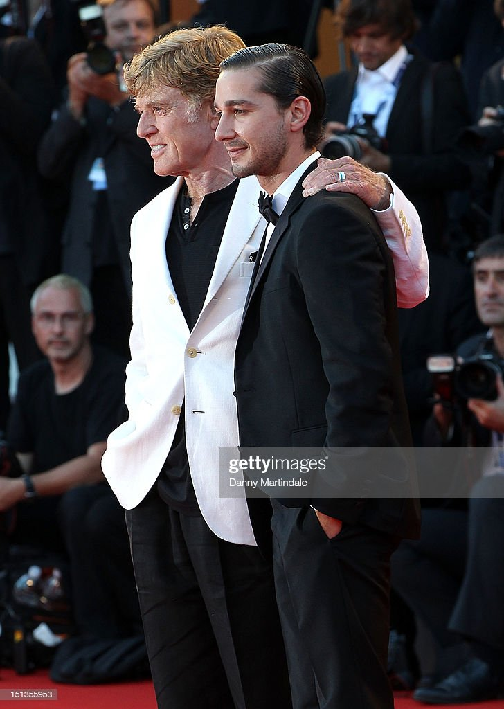 Director and actor Robert Redford and actor Shia LaBeouf attend the 'The Company You Keep' premiere at the 69th Venice Film Festival on September 6...