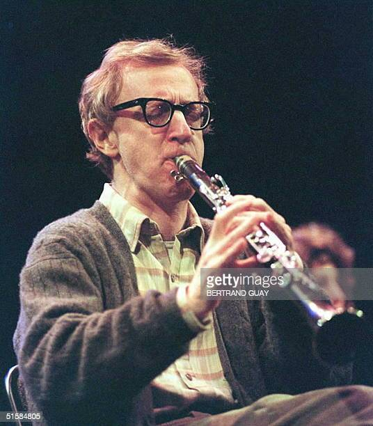 US director and actor Woody Allen plays the clarinette 04 March on stage at Olympia in Paris for a oneoff concert before an audience of 2000 with his...