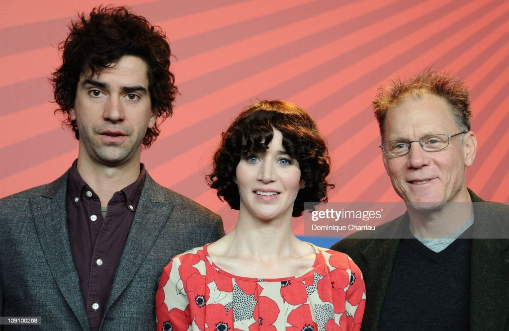Director and actress Miranda July actor Hamish Linklater and actor David Warshofsky attend the 'The Future' press conference during day six of the...
